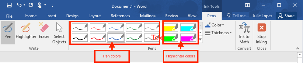 This shows the Ink Tools / Pens tab on the ribbon in Word and highlights the pen and highlighter selections.