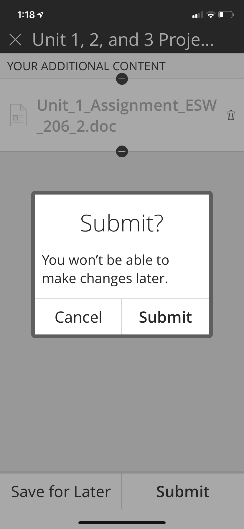 This screen allows you to Cancel or Submit.