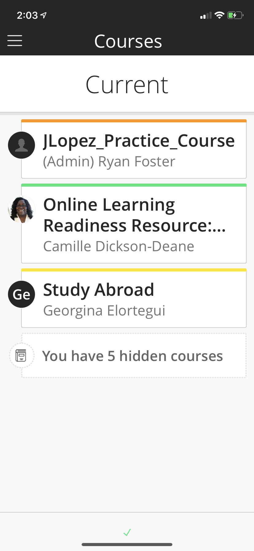 Course selection screen