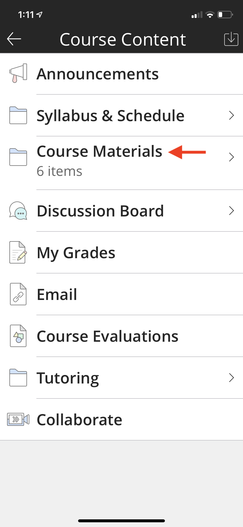 This is the course menu for the course selected highlighting the Course Materials link on the menu.