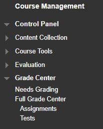 Course Management and Full Grade Center menu.
