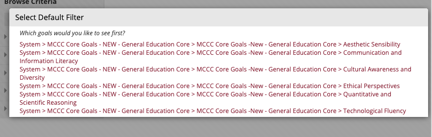 The goals associated with the course from earlier steps appear in the Goals Discovery window.