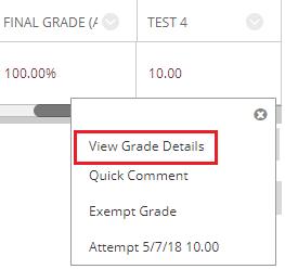 View Grade Details