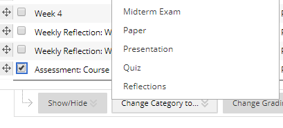 Select a Category from the pop-up window list