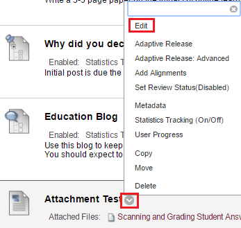 Edit existing content in Blackboard