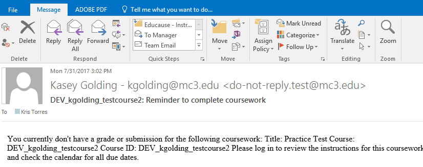 Student Reminder email sent from Blackboard