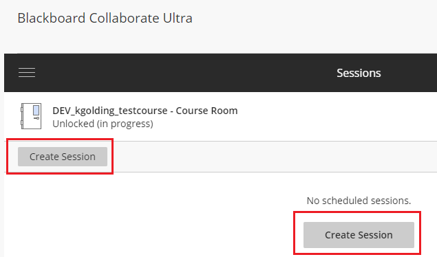 Create Session in Blackboard Collaborate
