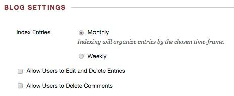 Blog settings screen shot