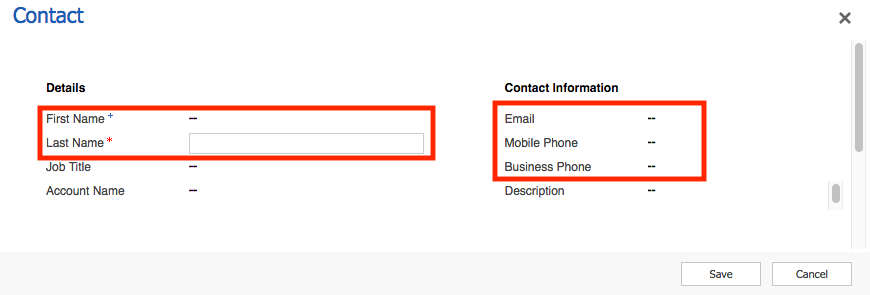 Contact details screen