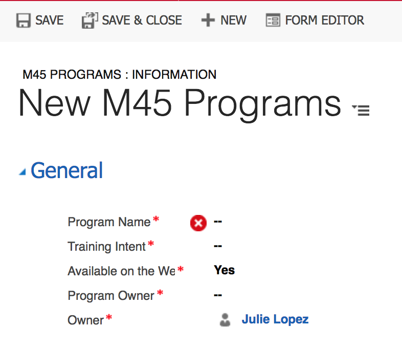 New M45 Program page field entries