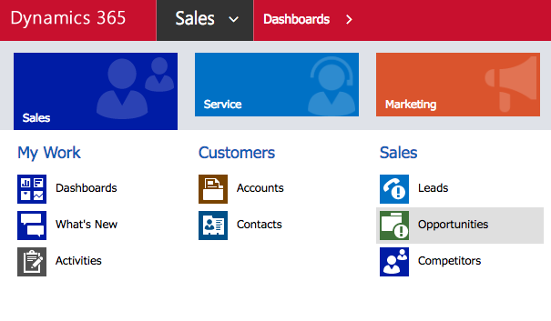 Sales dropdown menu then Opportunity link