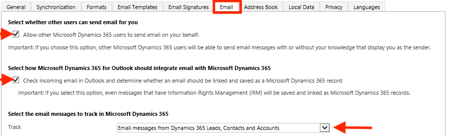 Configure the Outlook Connector Email tab