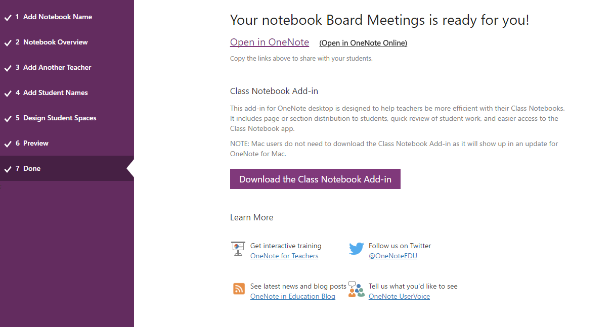 Open your newly created Class Notebook