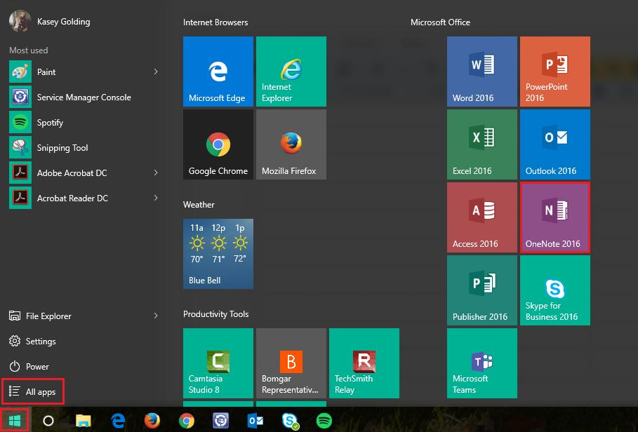Windows 10 access to OneNote