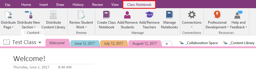 Class Notebook tab in OneNote