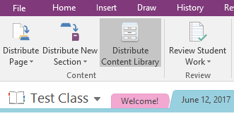 Distribute Content Library in OneNote through the Class Notebook tab.