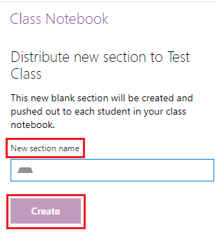 Give the new section a name then click Create