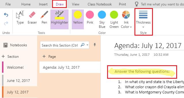 Draw tab to highlight text