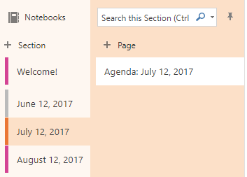 Selecting a Section or Page where you want to add notes in OneNote online