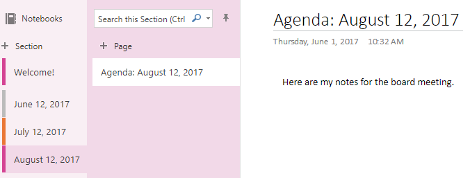 Writing notes in the online version of OneNote