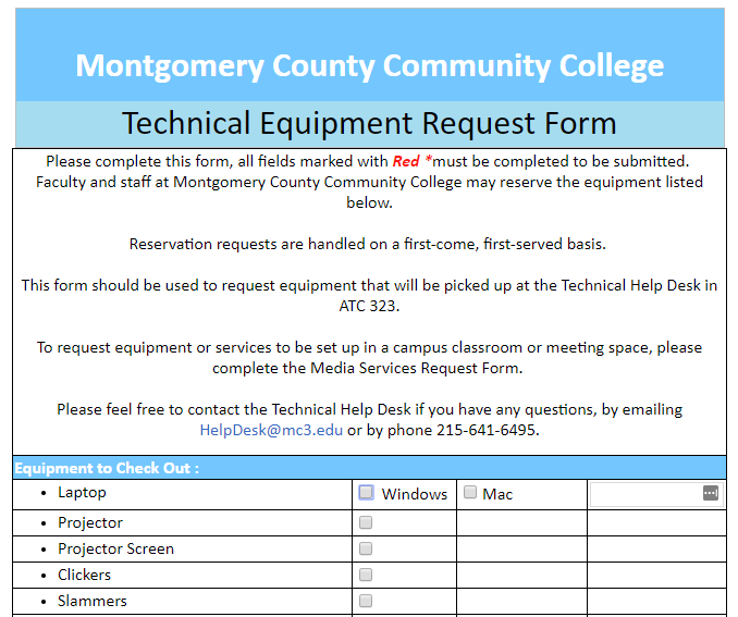 Technical Equipment Request Form