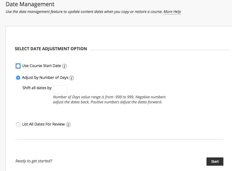 Date Management - SELECT DATE ADJUSTMENT OPTION screen shot