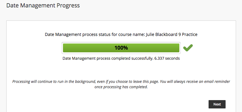 Date management progress status screen shot