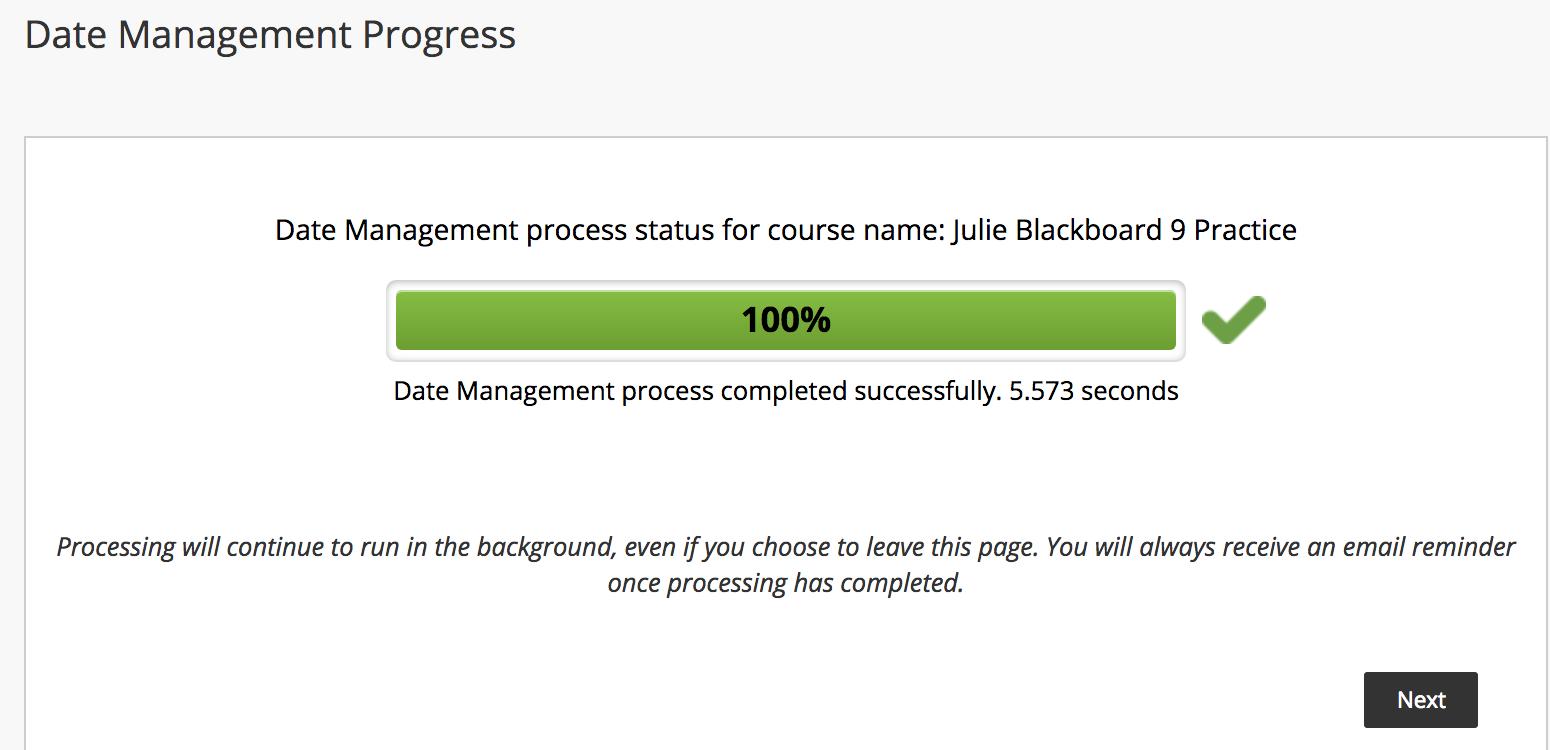 Date Management Progress screen shot