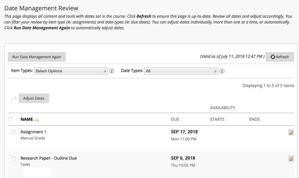 Date Management Review screen shot