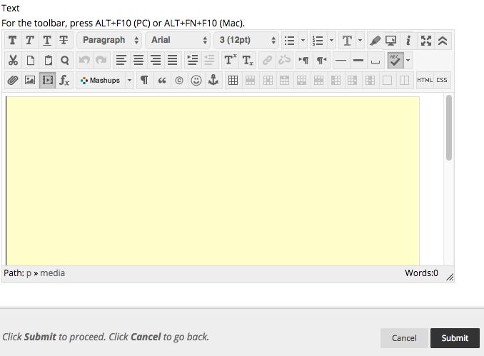 Blackboard text window screen shot