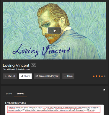 Kanopy video embed code link