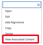 The image is a box with six choices. View Associated Content is the choice called out in a red box.