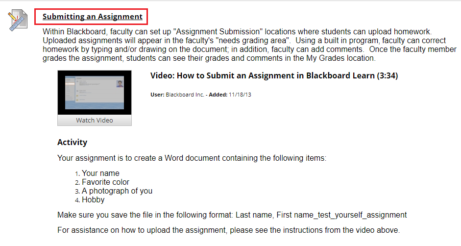 Click the assignment where the file should be uploaded