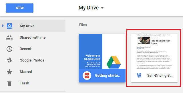 Uploaded file in Google Drive
