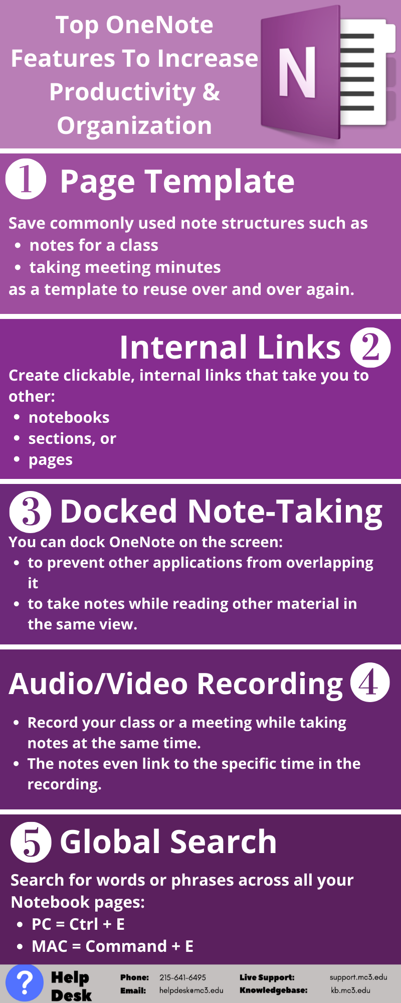 Title: Top OneNote Features to Increase Productivity and Organization  Feature #1: Page Template. Save commonly used note structures such as notes for a class or taking meeting minutes as a template to reuse over and over again.   Feature #2: Internal Links. Create clickable, internal links that take you to other notebooks, sections, or pages.   Feature #3: Docked Note-Taking. You can dock OneNote on the screen and prevent other applications from overlapping it allowing you to take notes while reading other material in the same view.   Feature #4: Audio/Video Recording. Record your class or a meeting while taking notes at the same time. The notes even link to the specific time in the recording.   Feature #5: Global Search. Use Ctrl (PC)/Command (Mac) + E to search for words or phrases across all your Notebook pages.