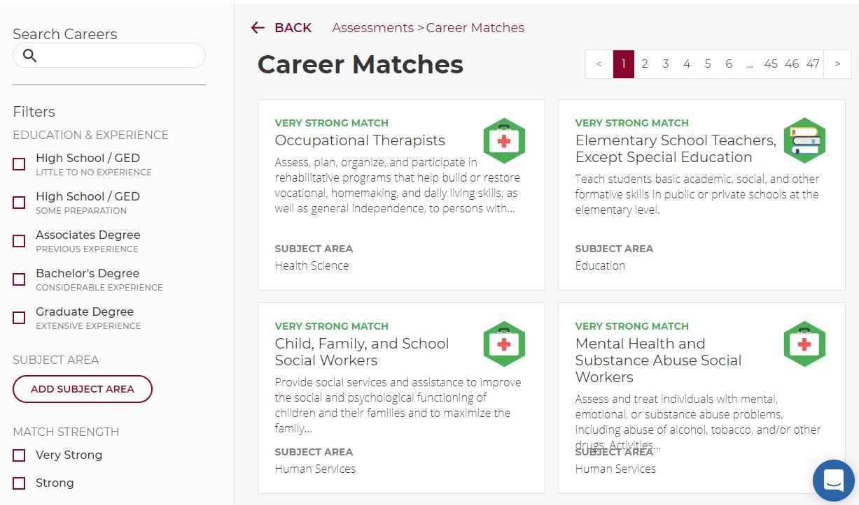 Career Matches in MyCareerPlan