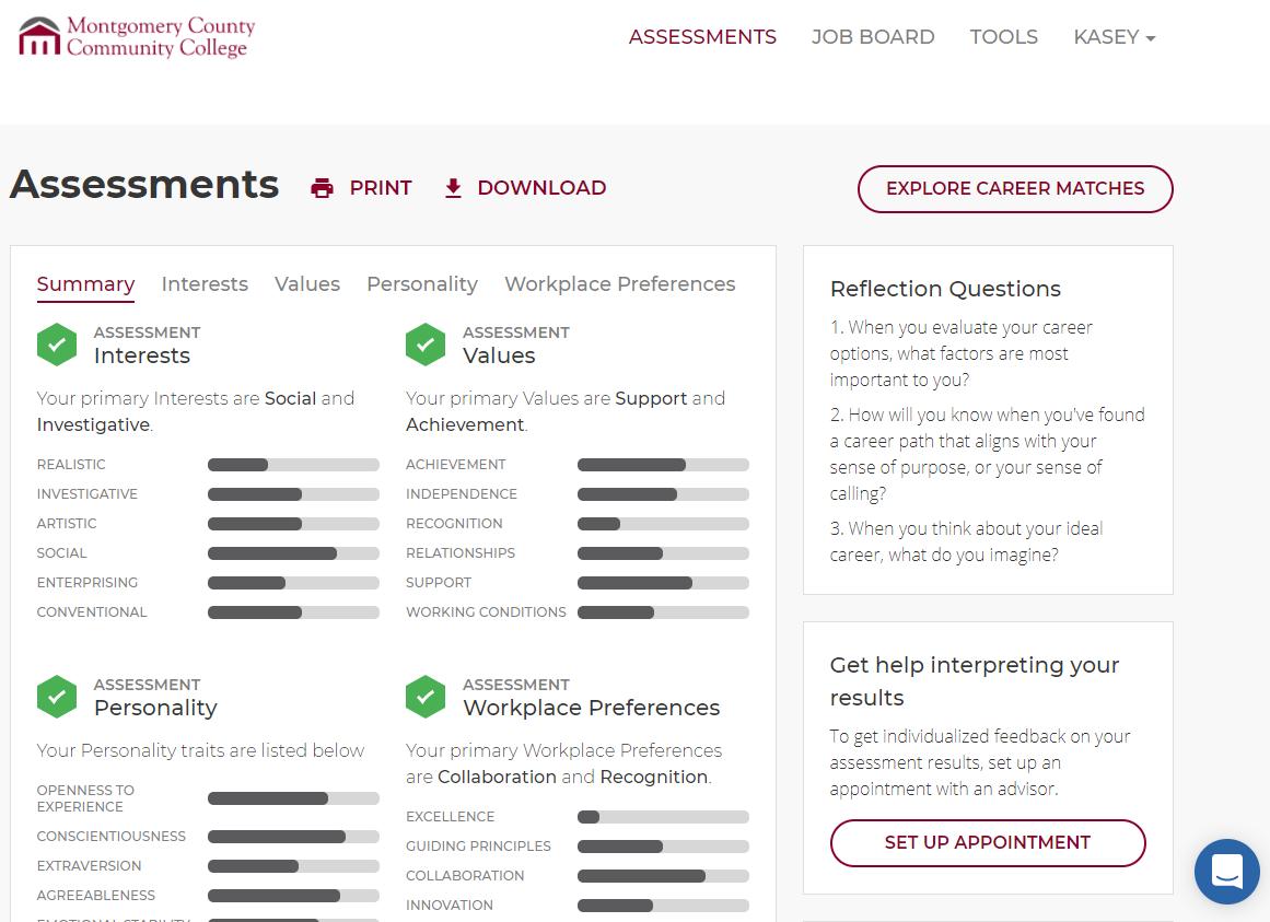 Assessments tab in MyCareerPlan