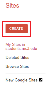 Create button in upper left corner in Google Sites