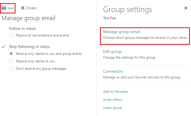 Manage Group Email Notifications