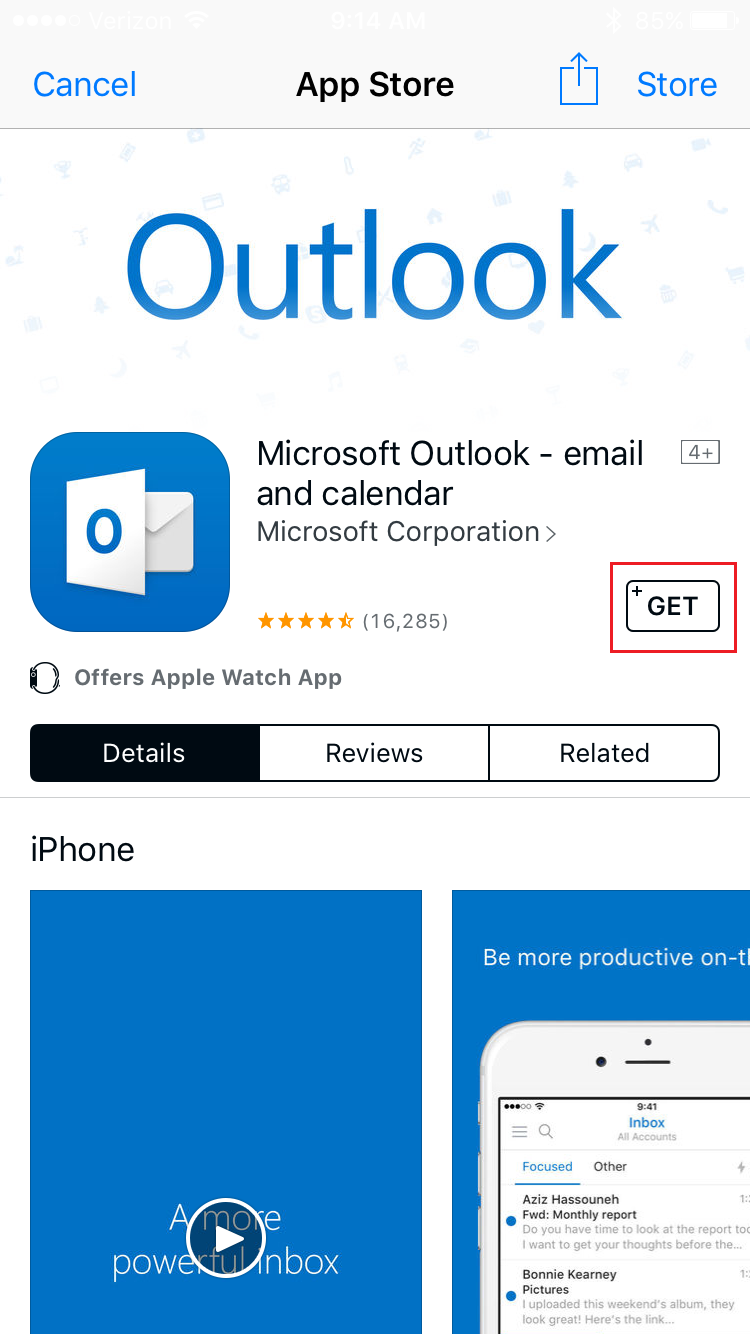 Search and download Outlook App