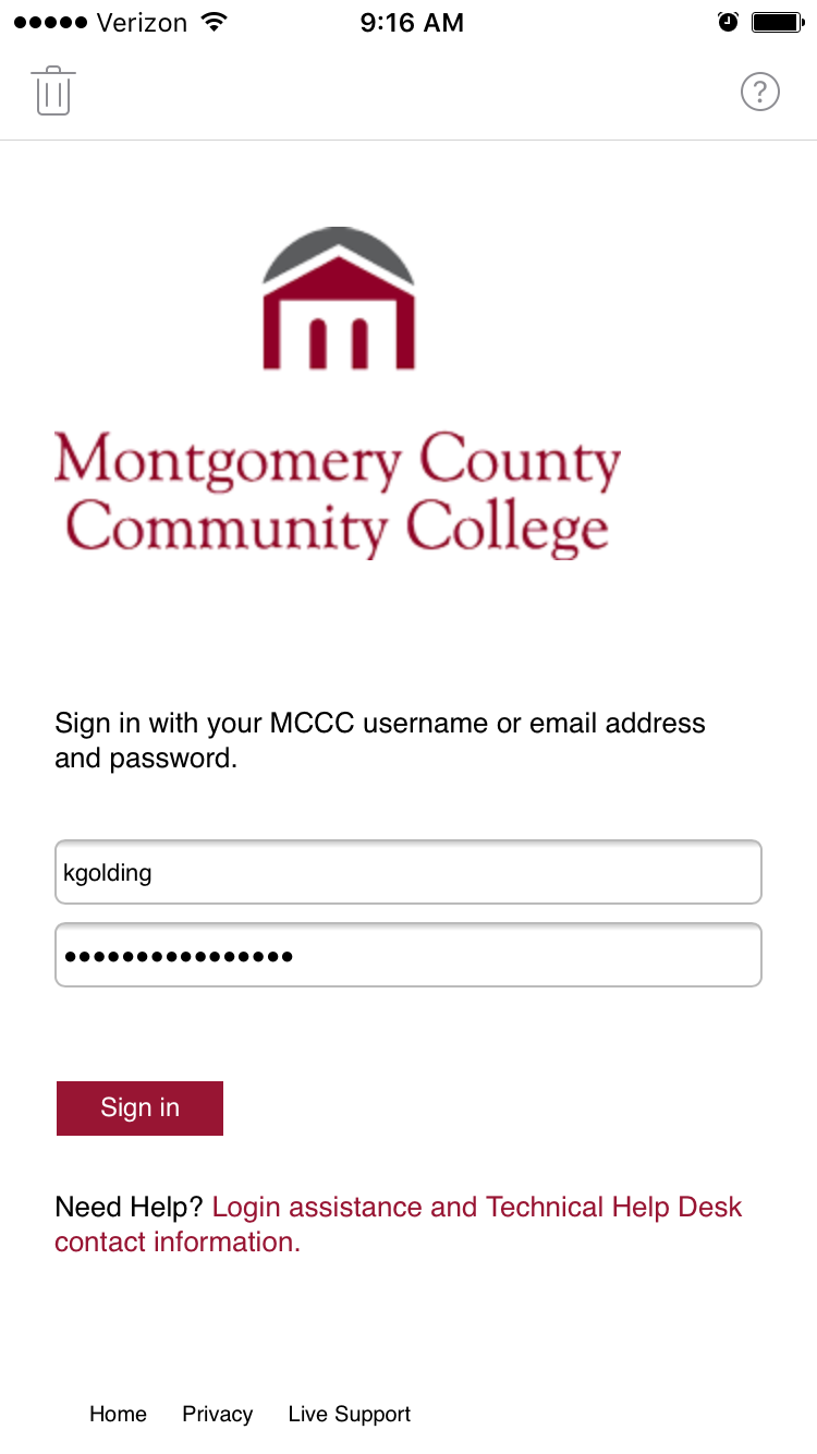 MCCC Login Page