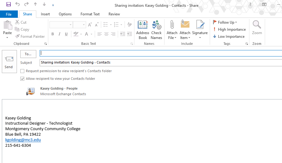 how to send contact list in outlook