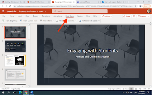 PowerPoint presentation with an arrow pointing at the the Slide Share tab