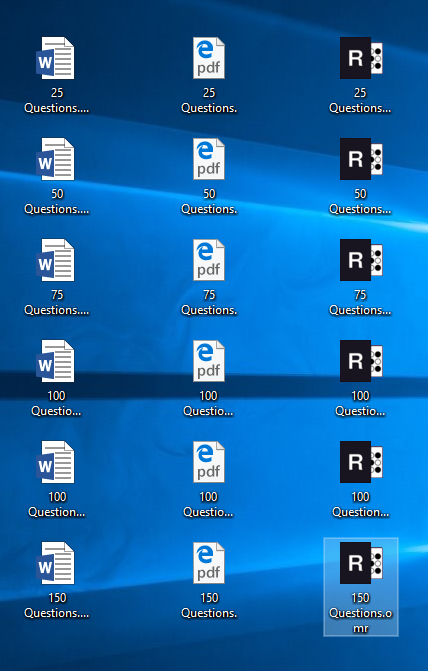Remark template icons on the desktop
