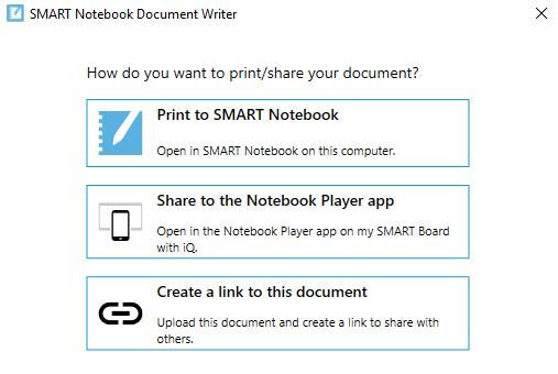 SMART Notebook Document Writer Window