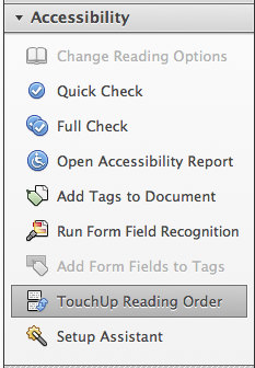 Image of the accessibility options in Adobe. This includes a quick and full check of the document, an accessibility report, adding tags to the document, run form field recognition, touchup, and setup.