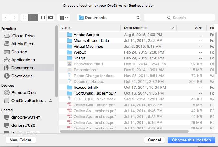 how to use onedrive folder mac