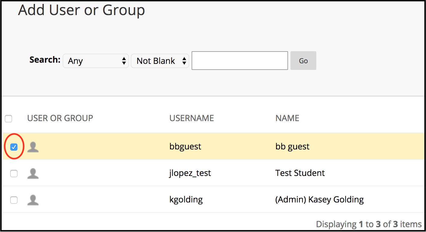 Add User or Group - user selection example