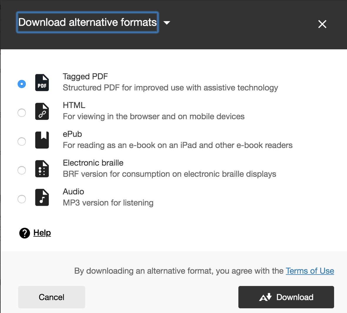 List of alternative formats include tagged pdf, HTML, ePub, Electronic braille and audio