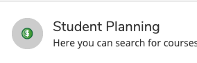 Student Planning button in self-service